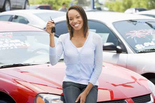 Woman picking new car